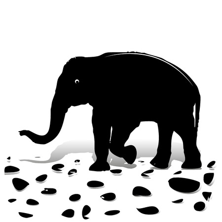 Silhouette of black elephant walking on stones, for design on white background, vector