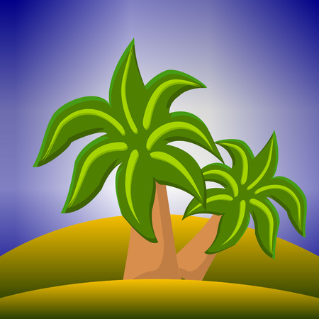 Two palm trees on a desert island, landscape vector