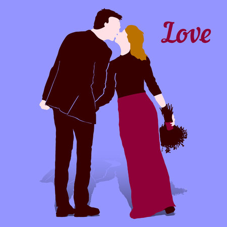 Couple in love, Man in black suit and woman with bouquet in hands in long purple skirt, on ultraviolet background, vector