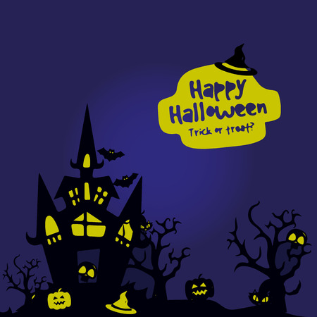Banner, night illustration, Halloween holiday city, on a dark blue background, with a yellow glow, vector Illusztráció