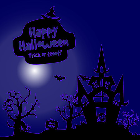 Night illustration, city holiday Halloween, on a dark blue background, vector