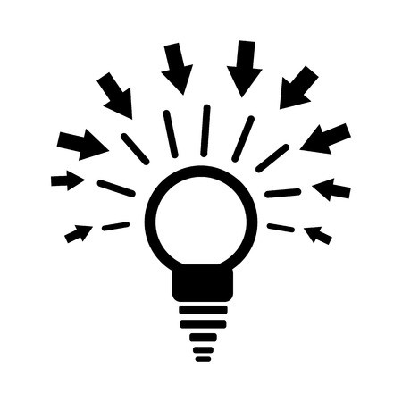 Abstract light bulb silhouette, idea for design on white background, vector