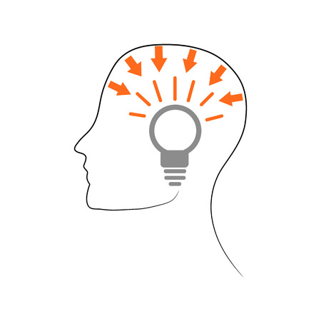 Pictogram, ideological head with light bulb, silhouette drawing on white background, vector  イラスト・ベクター素材