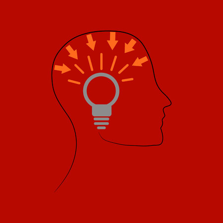 Pictogram, ideological head with a light bulb, silhouette-drawing on a red background, vector