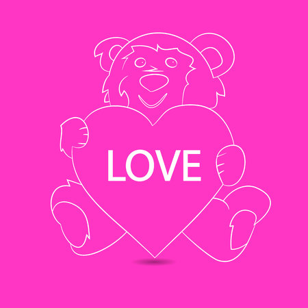 Gift teddy bear sitting and holding a heart, festive pattern on a pink background, vector Çizim