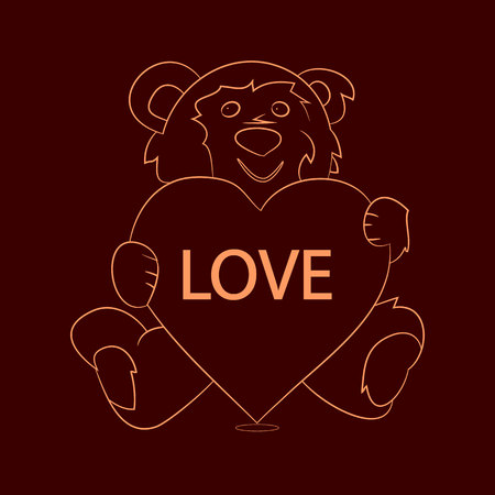 Gift teddy bear sitting and holding a heart, sparkling pattern on chocolate background, vector