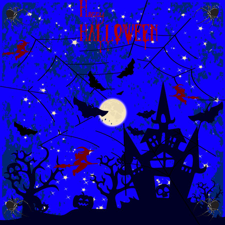 Halloween holiday, night illustration, (spider, witch, house) and the moon on a dark blue background, vector Ilustração