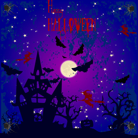 Halloween holiday banner, night illustration and moon, blood text, vector