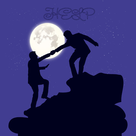 Silhouette of two people metaphor (help, support, friendship), on the mountain, hand in hand, on a dark blue background and the moon, vector