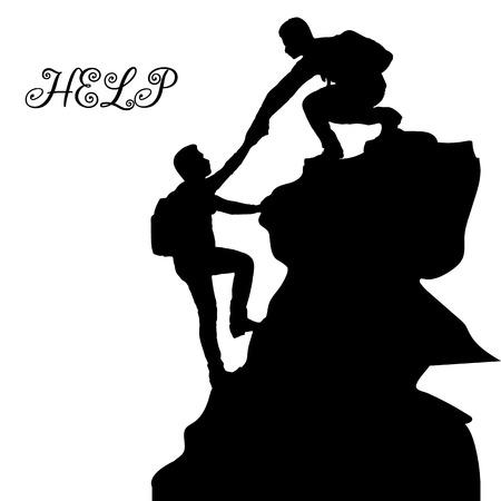 Sylwetka metafory dwojga ludzi (pomoc, wsparcie, przyjaźń), na górze, ręka w rękę, na białym tle, wektor