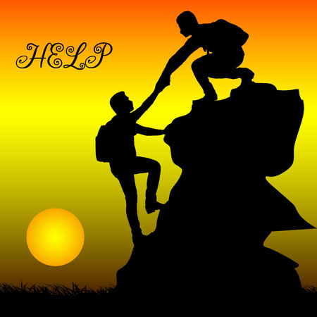 Silhouette of two people metaphor (help, support, friendship), on grief, hand in hand, at dawn, vector  イラスト・ベクター素材
