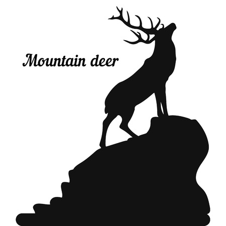 Silhouette of a deer on the top of a mountain, head raised up, on a white background, vector Foto de archivo - 113541134