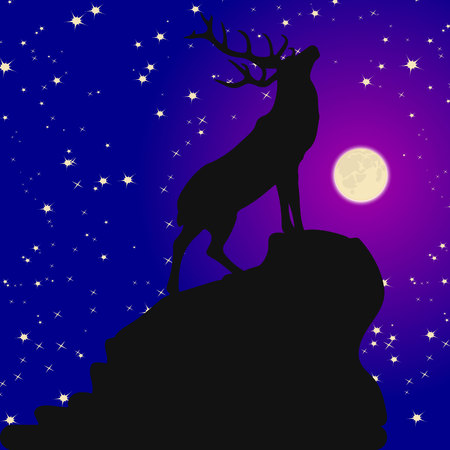 Silhouette of a deer on top of a mountain with a raised head, at night where the moon shines, and the stars, vector