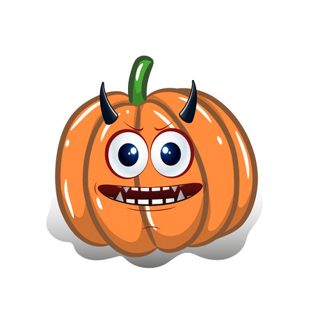 Cartoon pumpkin with horns, design for the holiday of Halloween, on a white background, vector Illustration