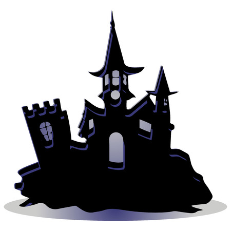 Dark castle, design for the holiday of Halloween, on a white background