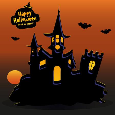 Schloss bei Sonnenuntergang, wo Fledermäuse fliegen, Banner für den Feiertag von Halloween