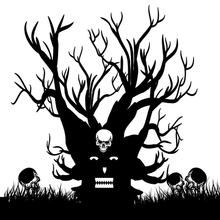 Scary tree with skull, silhouette design for Halloween holiday, on white background, vector