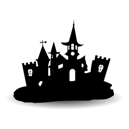 Fabulous Gothic castle, design for the holiday of Halloween, silhouette on a white background