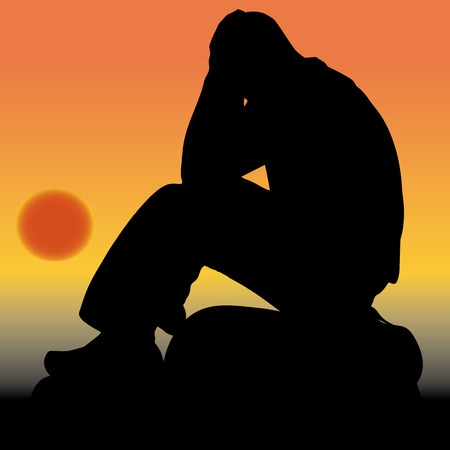 Sad man sitting on a stone, holding his hands behind his head, silhouette close up at sunrise, vector Vecteurs