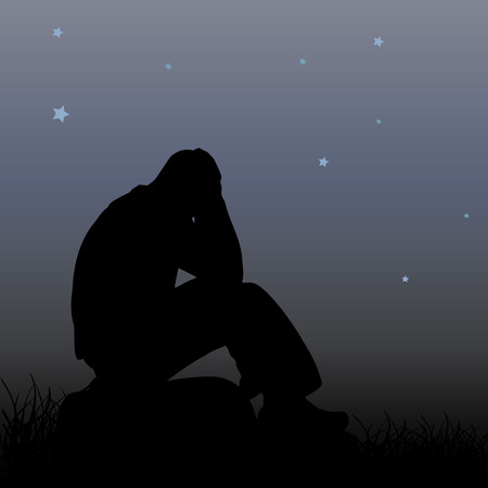 A sad man sits on a stone, holds his hands behind his head, a silhouette on a night background and stars, vector