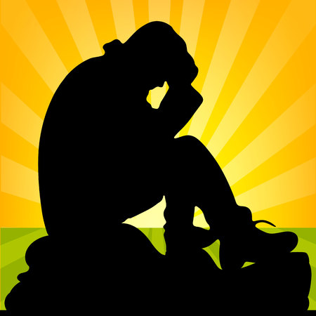 Sad man sitting on a stone, holding his hands behind his head, silhouette close up at sunrise, vector