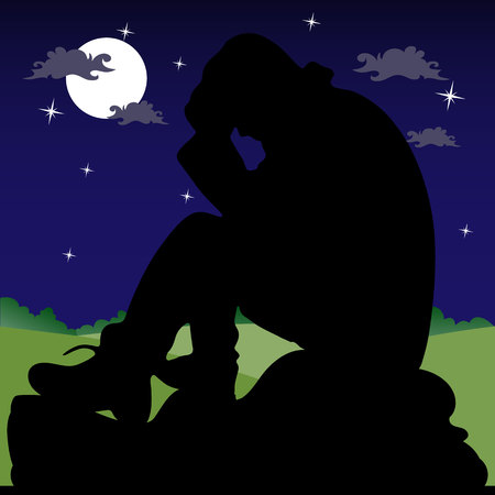 Night landscape, a sad man sitting on a stone, silhouette on a dark background with the moon and stars, vector