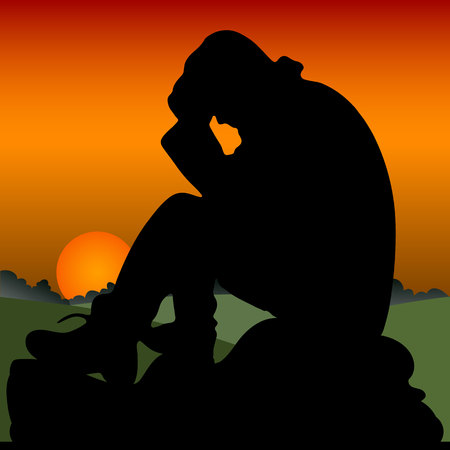 Sad man sits on a stone, holds his hands behind his head, silhouette close-up on an orange sunset, vector Ilustrace
