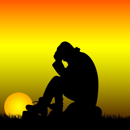Sad man sitting on a stone holding behind his head, silhouette at sunrise, vector Ilustrace