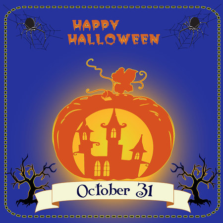 Halloween holiday banner, glowing orange pumpkin, with element of castle, spiders, and scary tree, on blue background