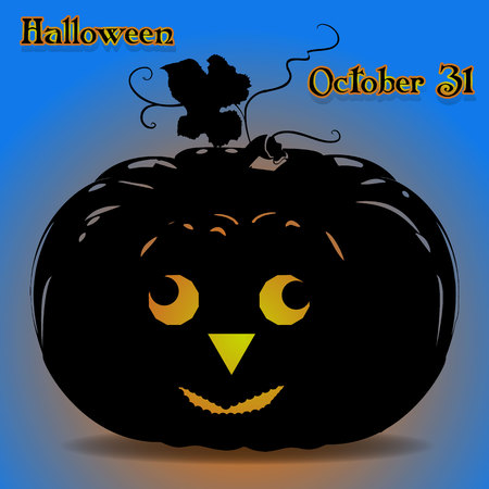 Banner illustration of a pumpkin for the holiday of Halloween, glowing on a blue background, vector