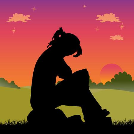 Fille triste sur un coucher de soleil rouge assis sur une pierre, couvrant son visage, vecteur