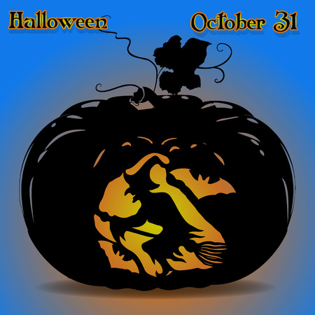 Banner illustration of a pumpkin for the holiday of Halloween where in the middle is a witch on a broom glowing on a blue background, vector Ilustrace