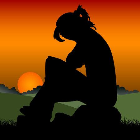Fille triste sur un coucher de soleil orange assis sur une pierre, couvrant son visage.