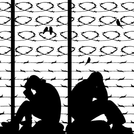 Migrant refugees behind barbed wire, silhouette of two sad men sitting on the ground, on a white background, vector