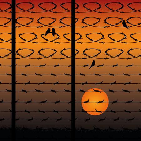 Clôture en fil de fer barbelé, silhouette dans le contexte d'un coucher de soleil orange, vecteur