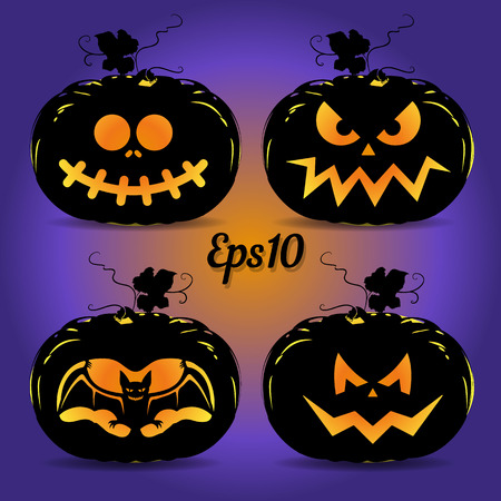 Set of pumpkins for the holiday of Halloween, glowing on a blue background, vector