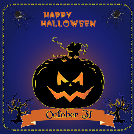 Banner for the holiday of Halloween, glowing pumpkin on a blue background, vector Ilustrace