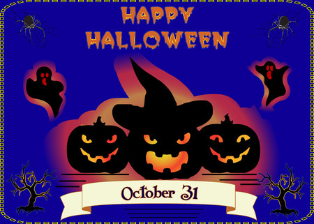Halloween holiday banner, three glowing pumpkins on blue background where ghosts and spiders fly, vector