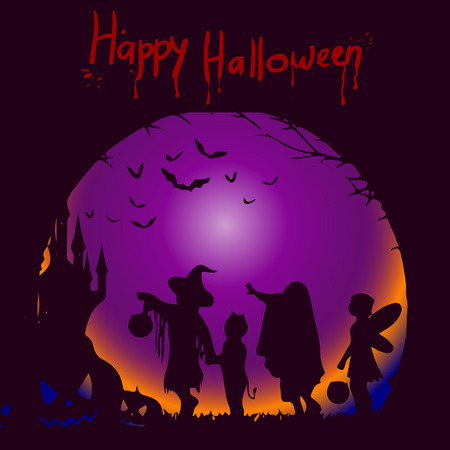 Template illustration for the holiday of Halloween, the silhouette of the character on a dark background where the inscription from blood, vector