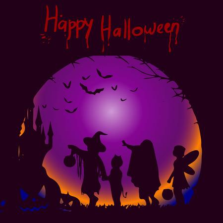 Vorlagenillustration für den Feiertag von Halloween, die Silhouette des Charakters auf einem dunklen Hintergrund, wo die Inschrift aus Blut, Vektor Vektorgrafik
