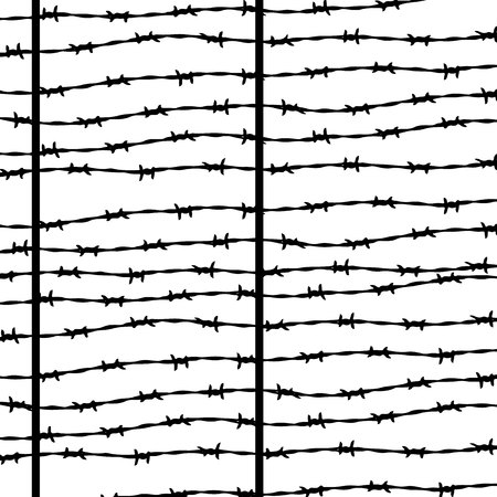 Barbed wire, silhouette for design on white background, vector Ilustrace