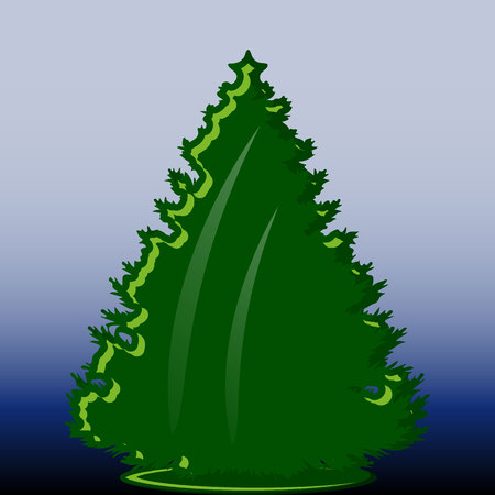 Abstract green christmas tree with decoration, object on blue background, vector