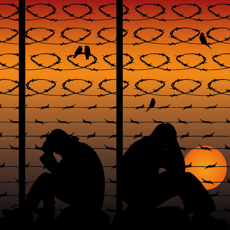 Migrant refugees behind barbed wire, silhouette of two sad men sitting on the ground, against the background of an orange sunset, vector