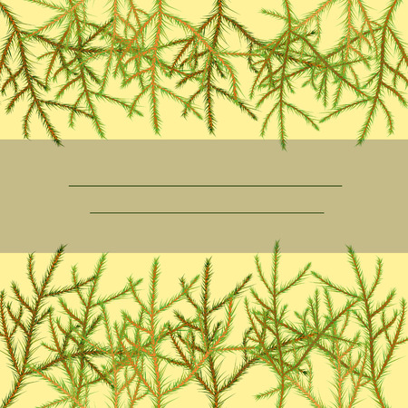 Invitation frame of pine branches, on a light yellow background, vector
