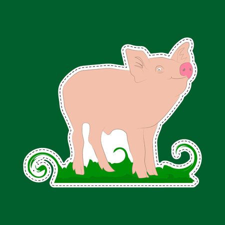Sticker happy pig character on green background, vector