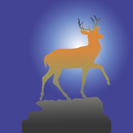 Mountain deer on the top of the hill, brown silhouette on the background of the night, vector