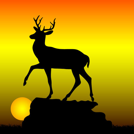 Mountain deer on top of a hill, silhouette on a sunrise background, vector