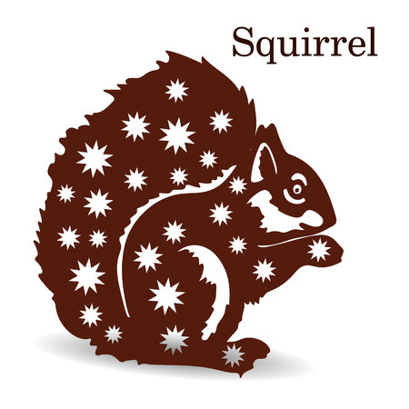 Brown squirrel silhouette, with snowflakes pattern, decoration for design, vector