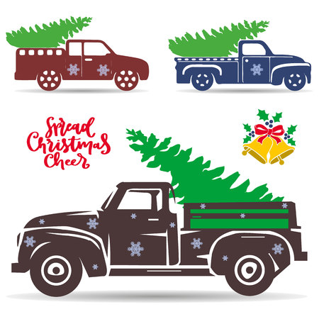Set of holiday trucks that carry a Christmas tree. Silhouette Objects to decorate the design, on a white background, vector
