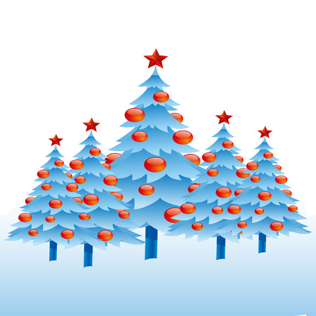 Christmas trees with a star, abstract set light blue on a white background, vector
